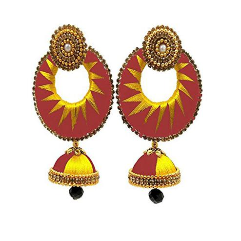 Gorgeous Peach & Yellow Colored Stone Work Silk Thread Jhumki Earring