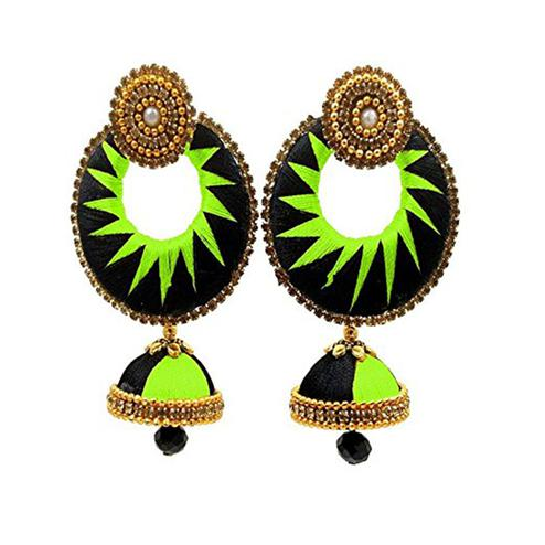 Classy Black & Green Colored Stone Work Silk Thread Jhumki Earring
