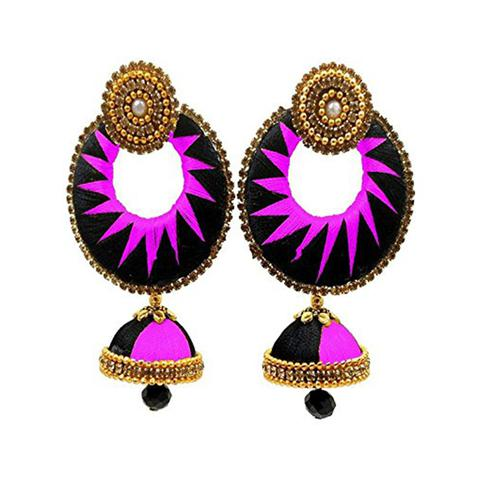 Glorious Black & Light Purple Colored Stone Work Silk Thread Jhumki Earring