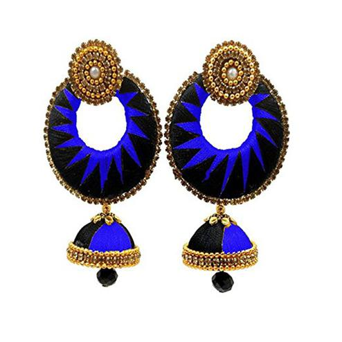 Graceful Black & Royal Blue Colored Stone Work Silk Thread Jhumki Earring