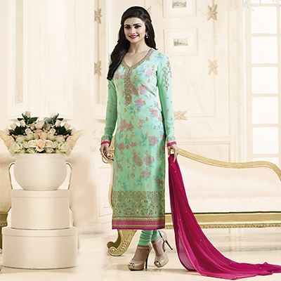 Adorable Sky Blue Embroidered Georgette Straight Suit