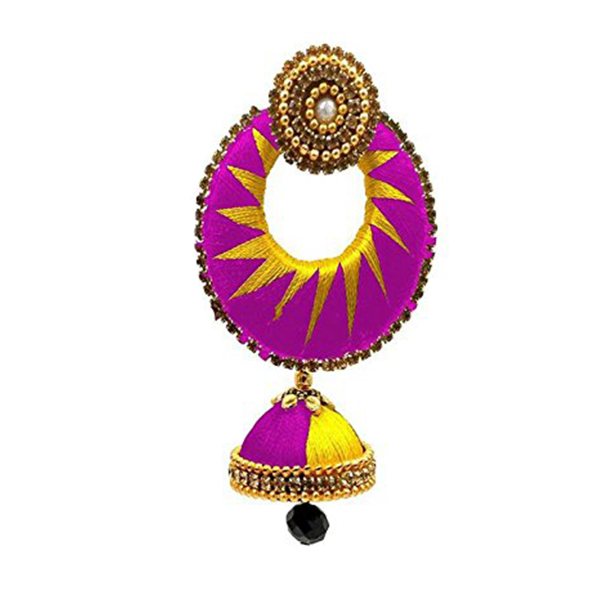 Lovely Pink & Yellow Colored Stone Work Silk Thread Jhumki Earring