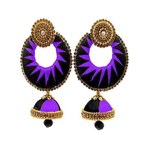 Pretty Black & Purple Colored Stone Work Silk Thread Jhumki Earring
