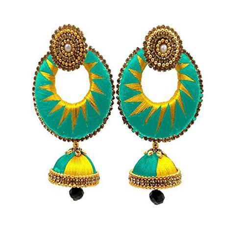 Charming Sea Green & Yellow Colored Stone Work Silk Thread Jhumki Earring