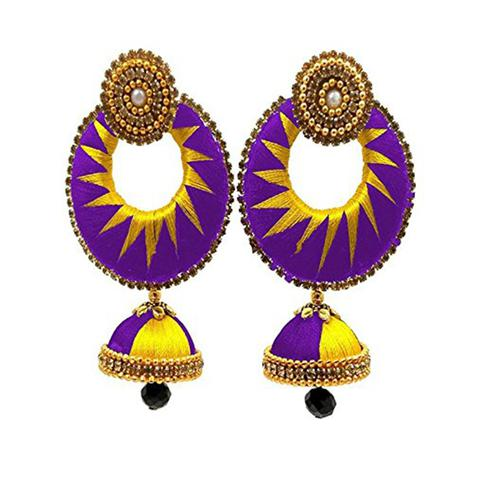 Ravishing Purple & Yellow Colored Stone Work Silk Thread Jhumki Earring