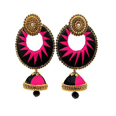 Delightful Black & Pink Colored Stone Work Silk Thread Jhumki Earring
