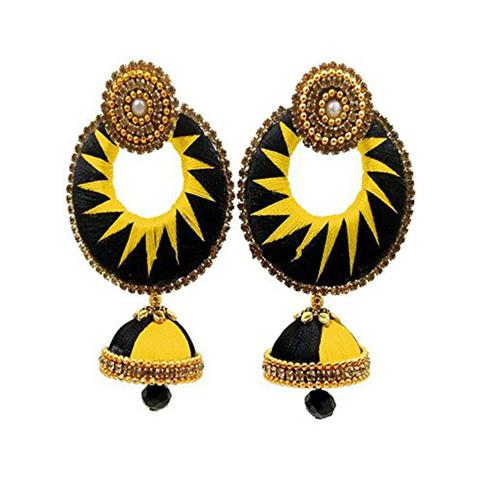 Stunning Black & Yellow Colored Stone Work Silk Thread Jhumki Earring
