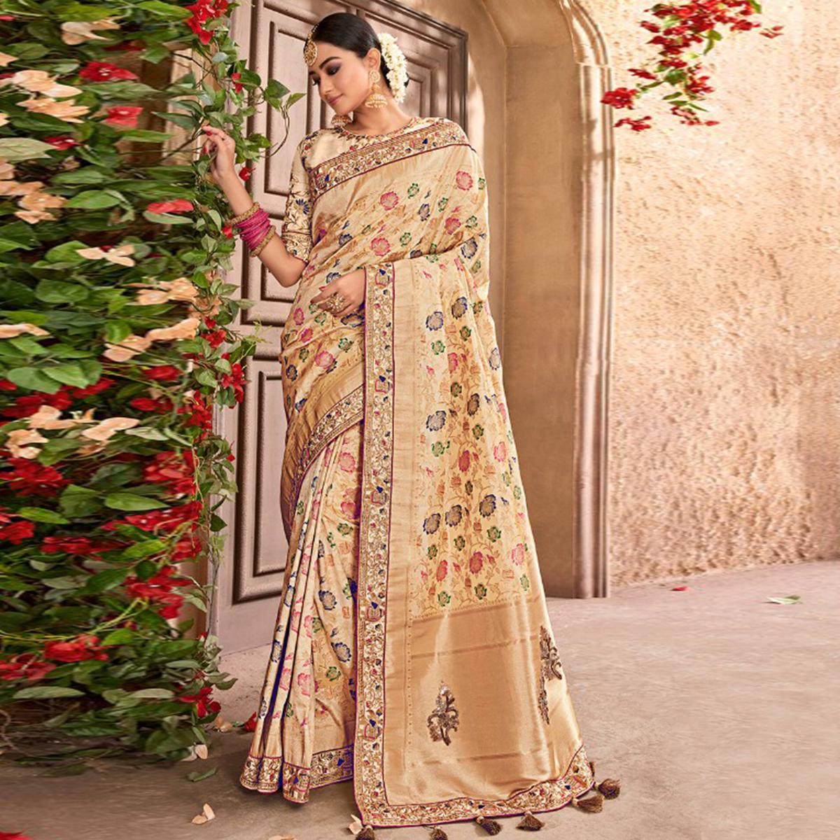 Amazing Cream Colored Partywear Woven Pure Banarasi Silk Saree