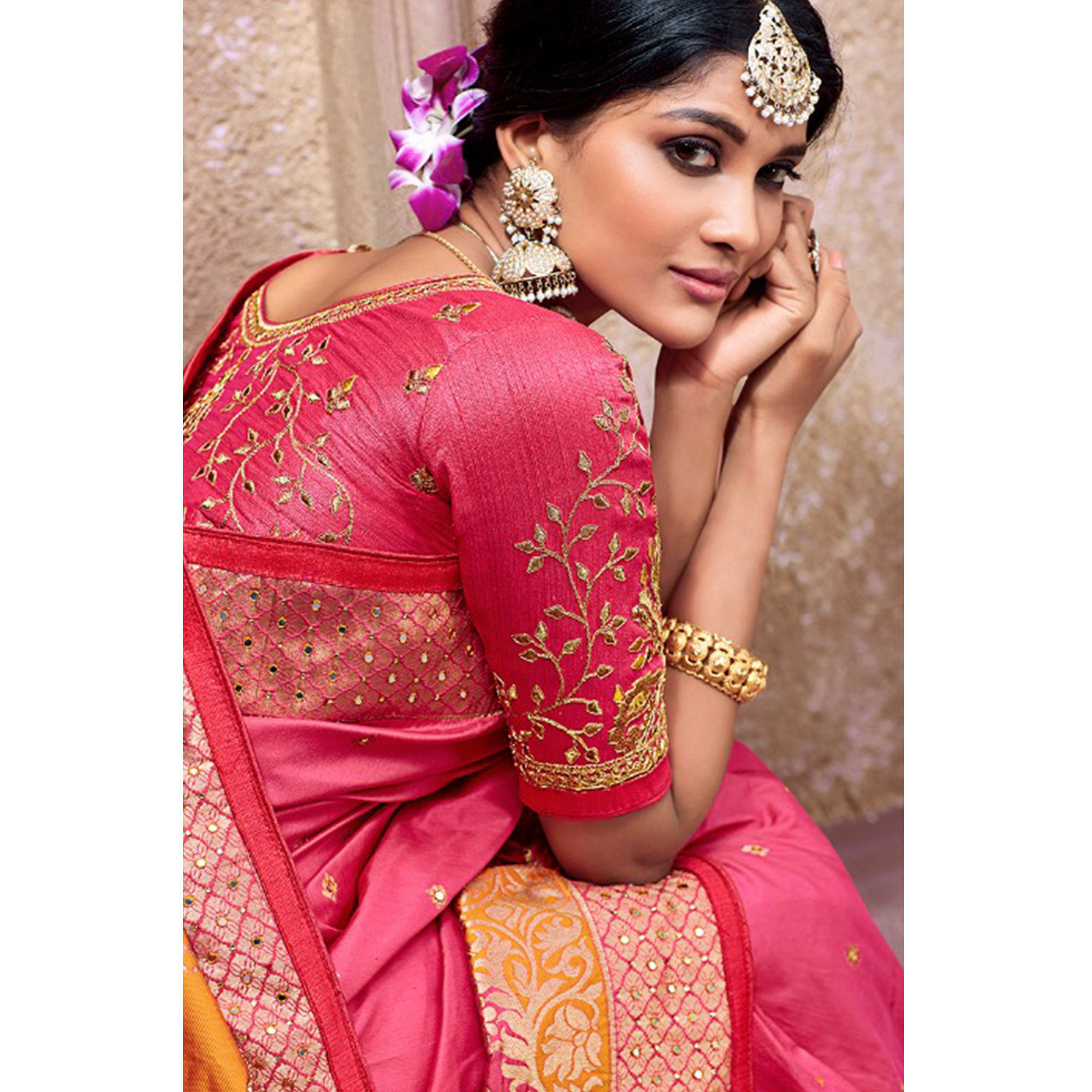 Stunning Pink Colored Partywear Woven Pure Banarasi Silk Saree