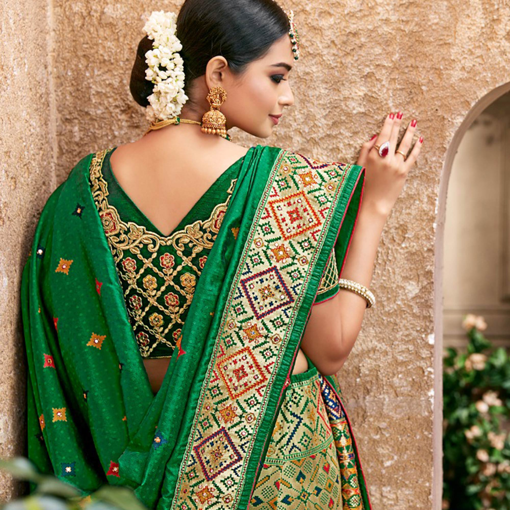 Impressive Green Colored Partywear Woven Pure Banarasi Silk Saree