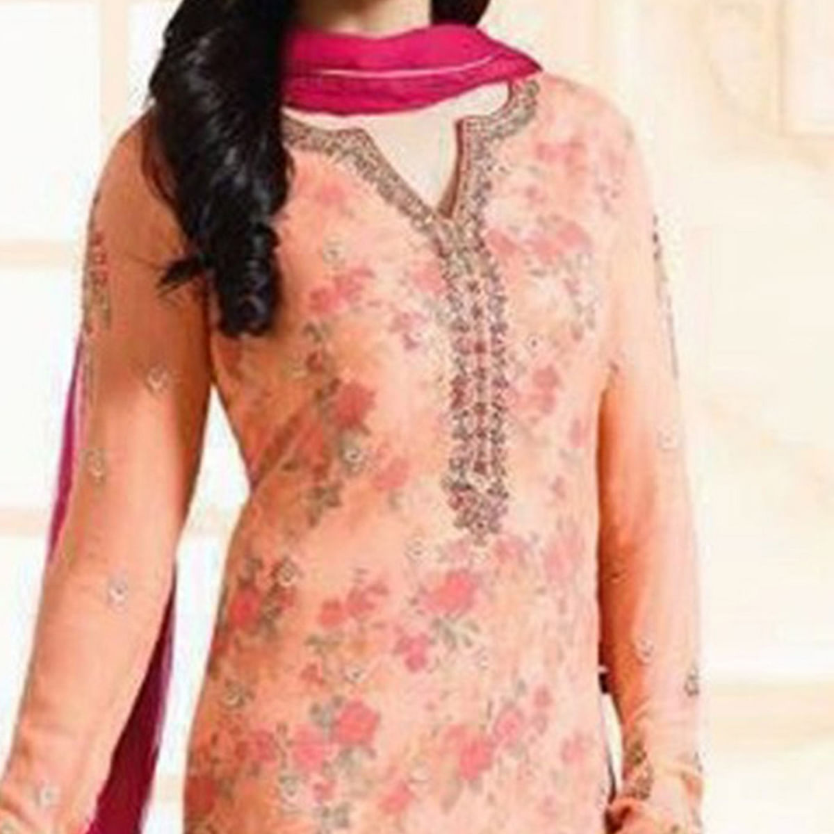 Ravishing Peach Embroidered Georgette Straight Suit
