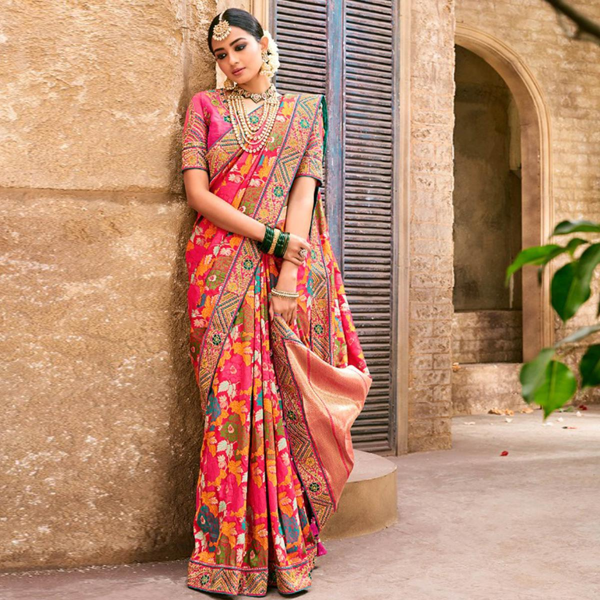 Glorious Pink Colored Partywear Woven Pure Banarasi Silk Saree