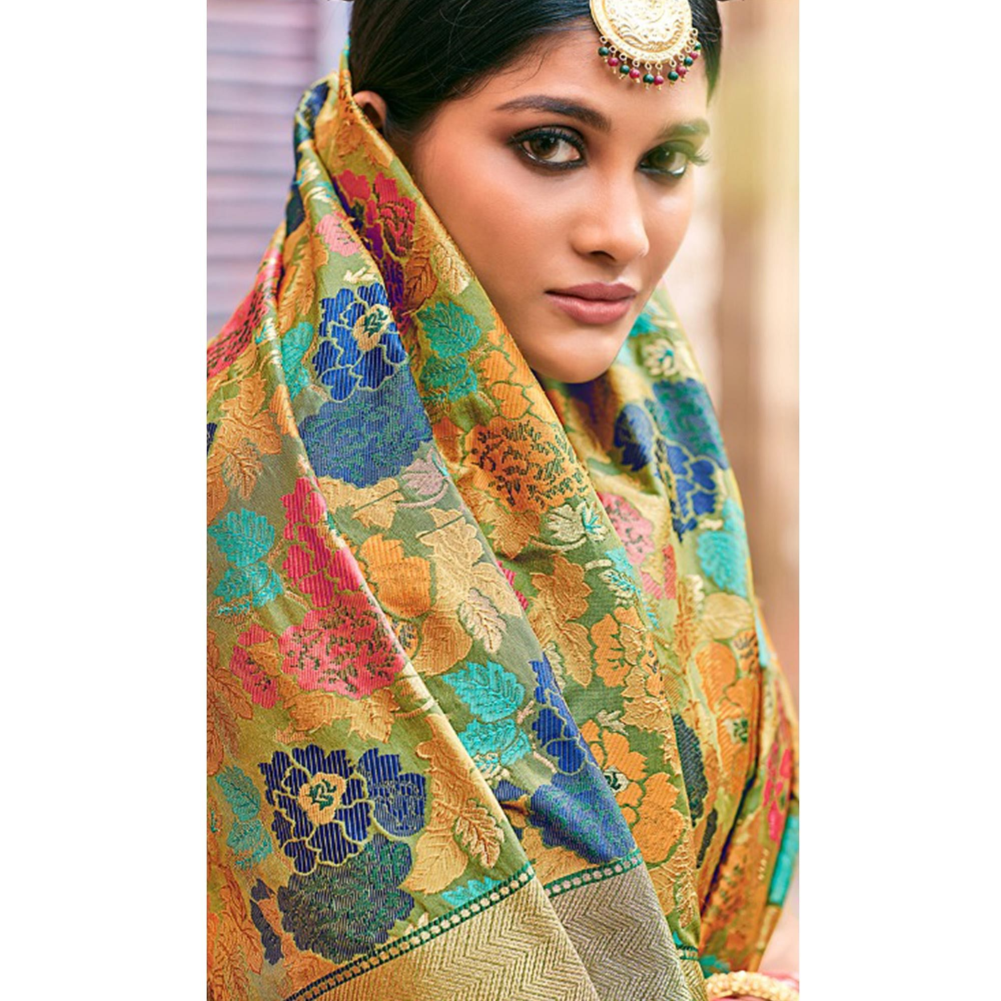 Favorite Multi Colored Partywear Woven Pure Banarasi Silk Saree