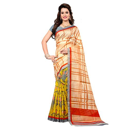 Cream - Yellow Half & Half Saree