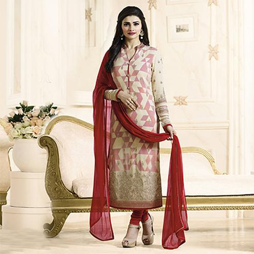Elegant Cream Embroidered Georgette Straight Suit