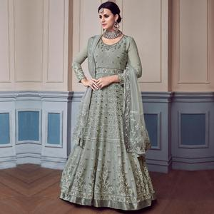 Marvellous Gray Colored Partywear Embroidered Faux Georgette Anarkali Suit