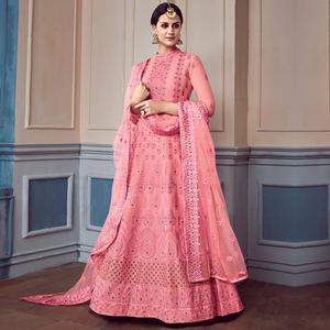 Glorious Pink Colored Partywear Embroidered Faux Georgette Anarkali Suit