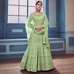 Exceptional Pista Green Colored Partywear Embroidered Faux Georgette Anarkali Suit