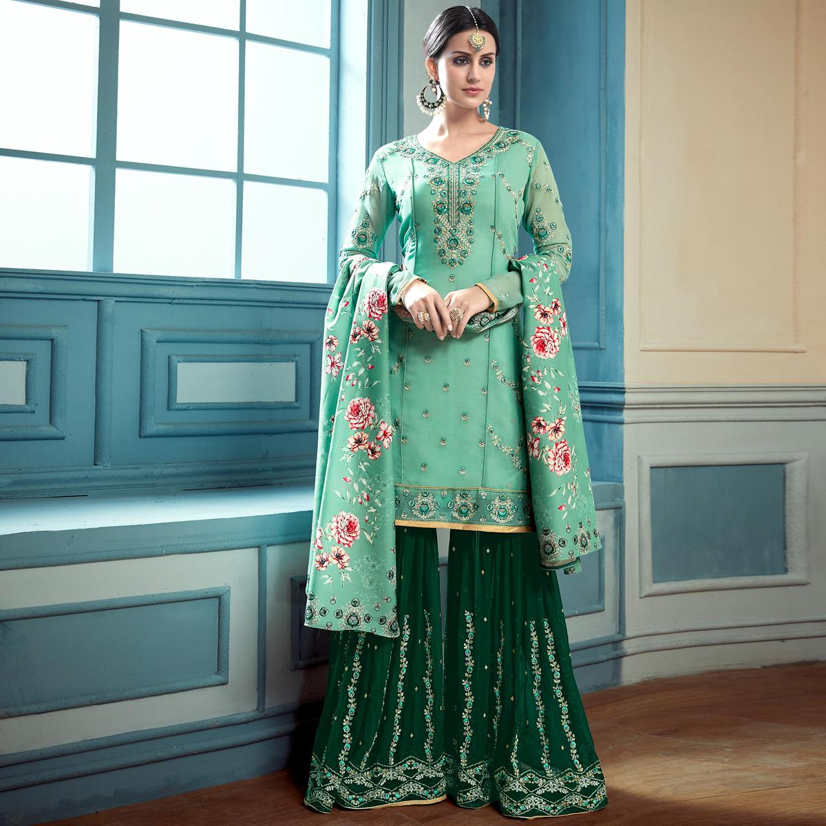 957fbfc01f Buy Stunning Turquoise Green Colored Partywear Embroidered Faux Georgette  Palazzo Suit For womens online India, Best Prices, Reviews - Peachmode