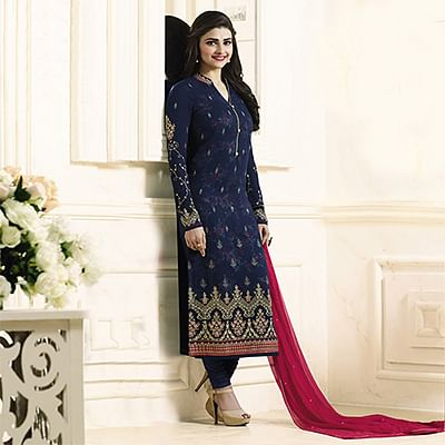 Beautiful Navy Blue Embroidered Georgette Straight Suit