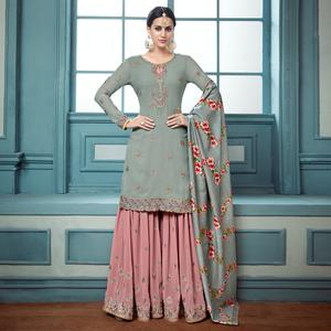 Magnetic Gray Colored Partywear Embroidered Faux Georgette Palazzo Suit