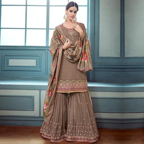 Energetic Brown Colored Partywear Embroidered Faux Georgette Palazzo Suit