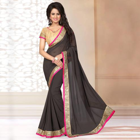Flaunt Black Colored Partywear Georgette Saree