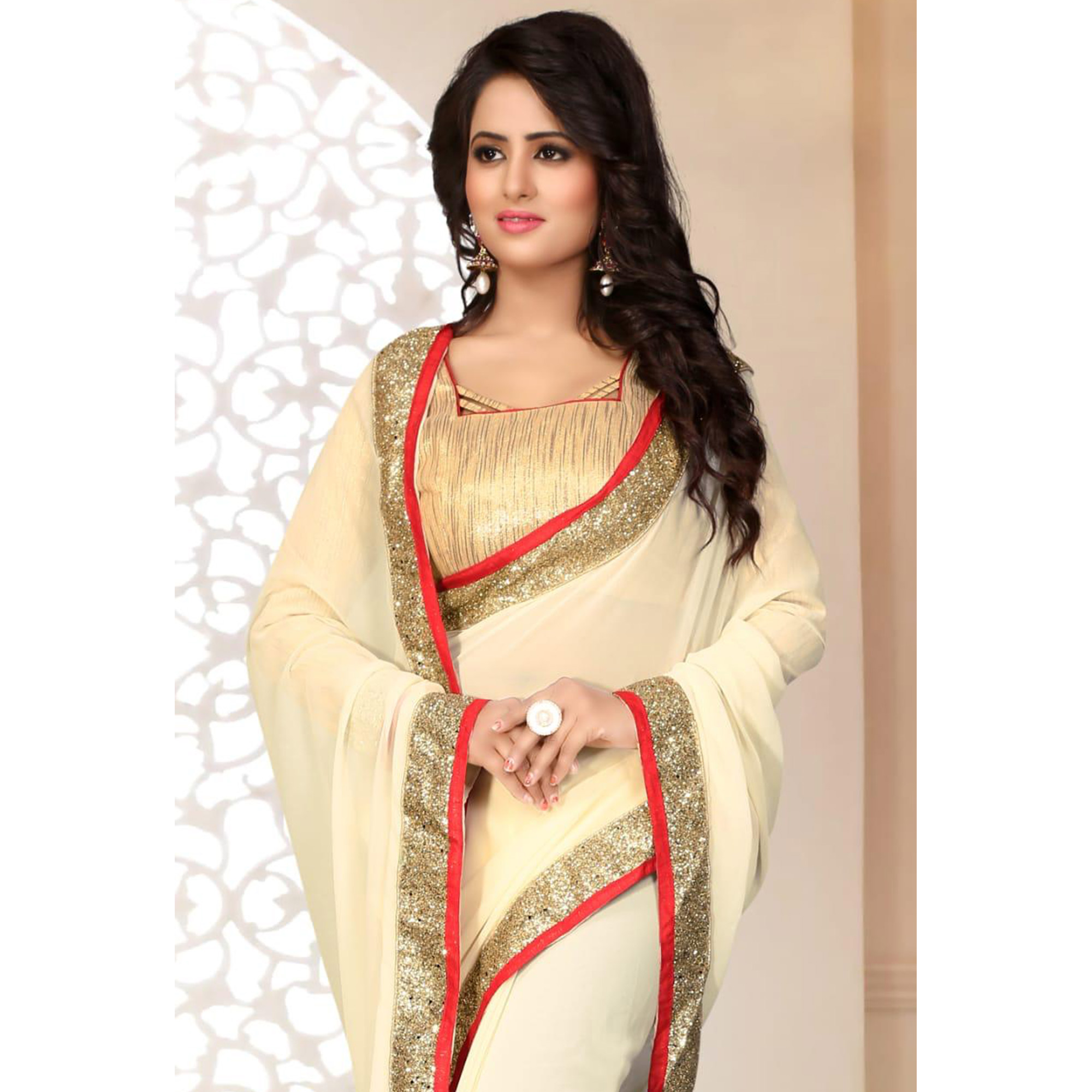 Appealing Cream Colored Partywear Georgette Saree