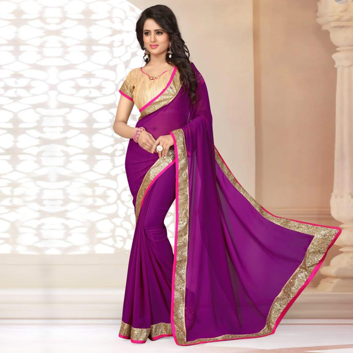 Perfect Purple Colored Partywear Georgette Saree