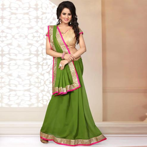 Impressive Green Colored Partywear Georgette Saree