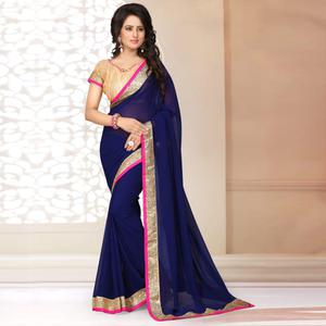 Adorning Navy Blue Colored Partywear Georgette Saree