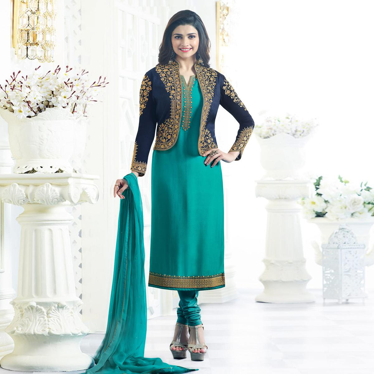 d7b5a150ac Buy Sea Green Party Wear Embroidered Designer Salwar Suit online India,  Best Prices, Reviews - Peachmode