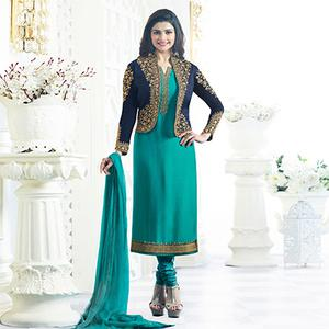 Sea Green Party Wear Embroidered Designer Salwar Suit