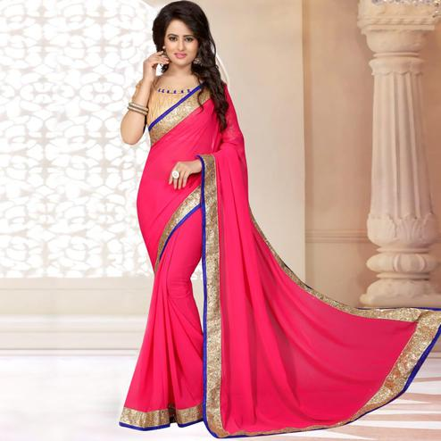 Stylish Pink Colored Partywear Georgette Saree