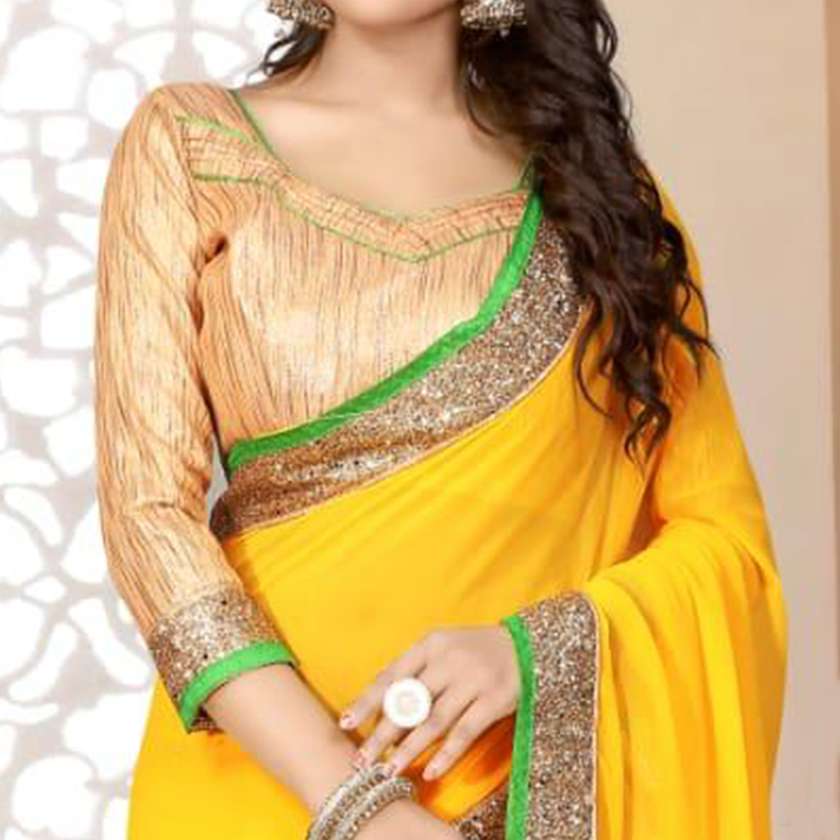 Trendy Yellow Colored Partywear Georgette Saree