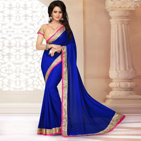 Gleaming Royal Blue Colored Partywear Georgette Saree