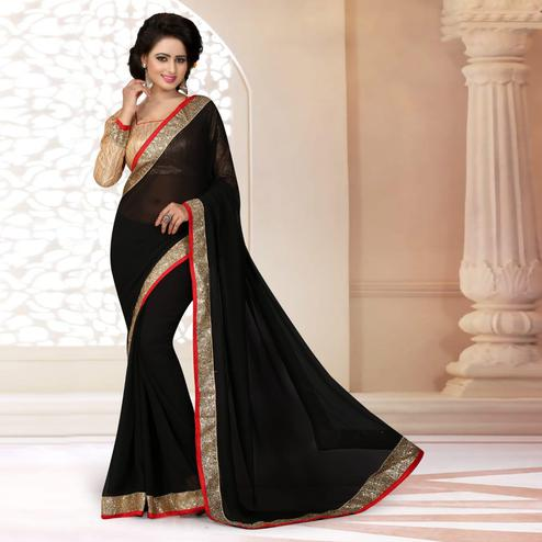 Blooming Black Colored Partywear Georgette Saree