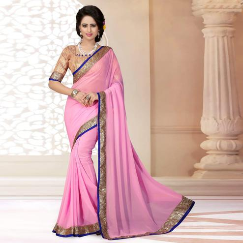 Pretty Light Pink Colored Partywear Georgette Saree