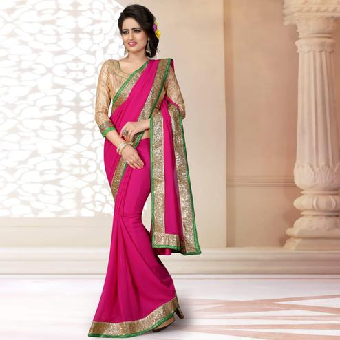 Gorgeous Dark Pink Colored Partywear Georgette Saree