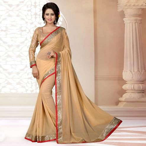 Pleasant Beige Colored Partywear Georgette Saree