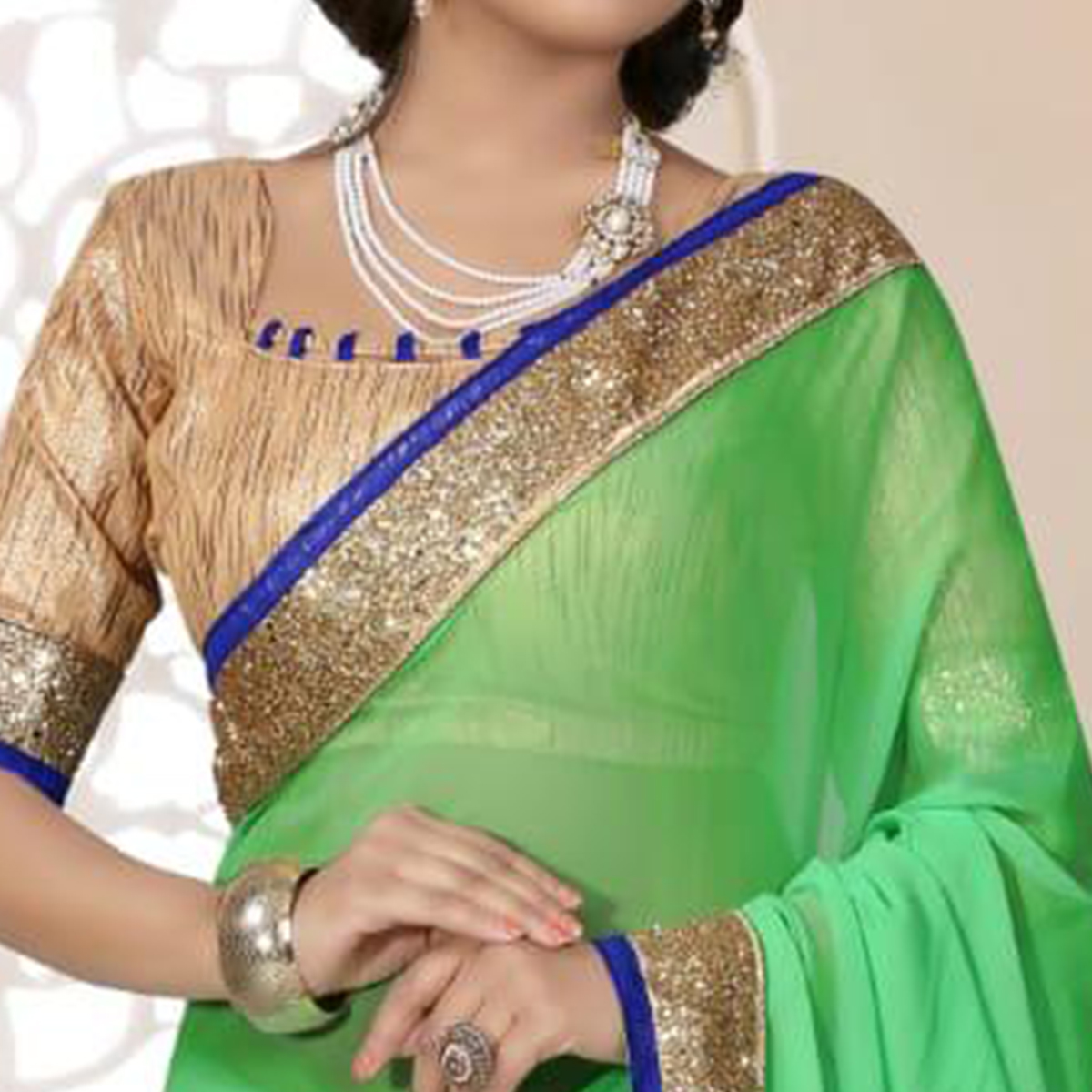 Unique Pista Green Colored Partywear Georgette Saree