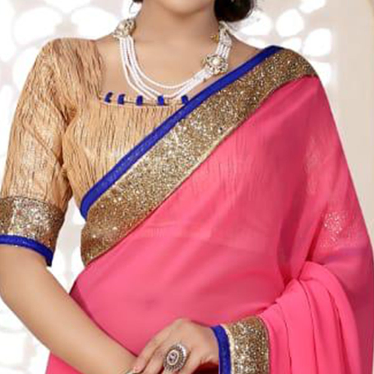 Marvellous Pink Colored Partywear Georgette Saree