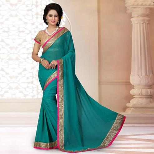 Classy Blue Colored Partywear Georgette Saree