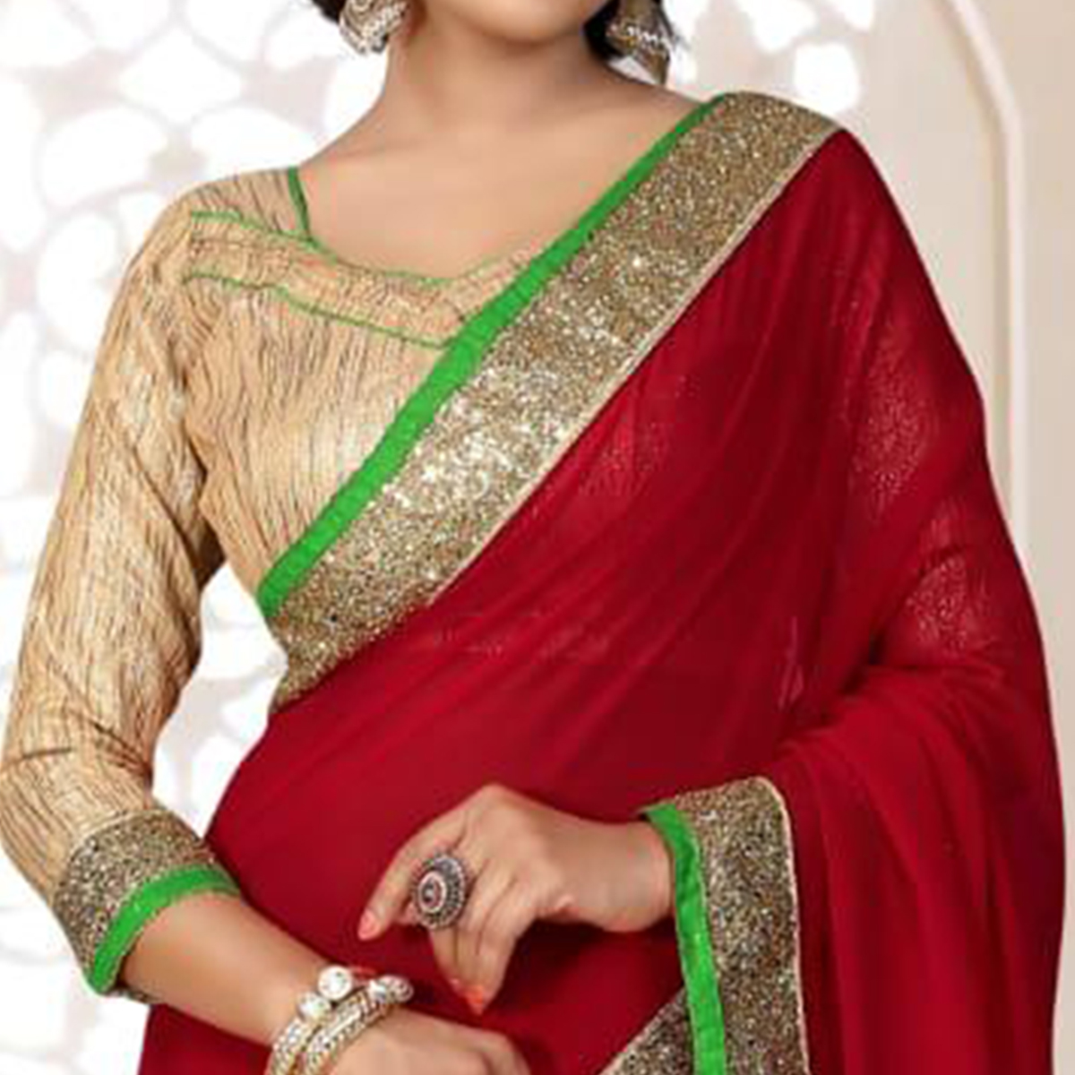 Lovely Maroon Colored Partywear Georgette Saree