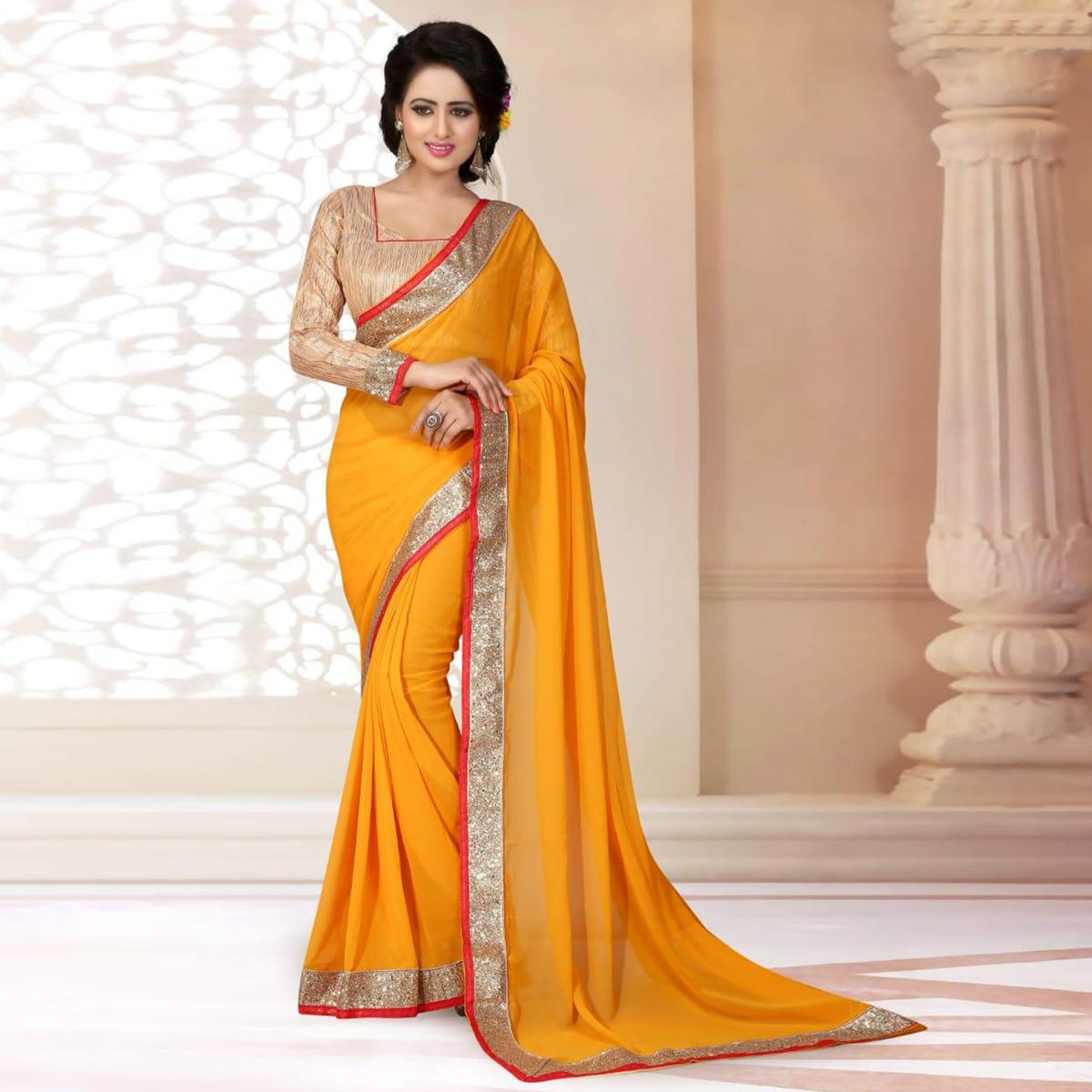 Groovy Yellow Colored Partywear Georgette Saree