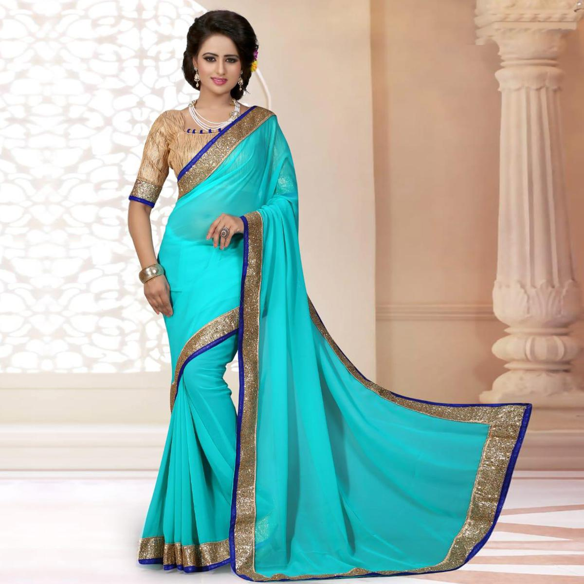 Refreshing Aqua Blue Colored Partywear Georgette Saree