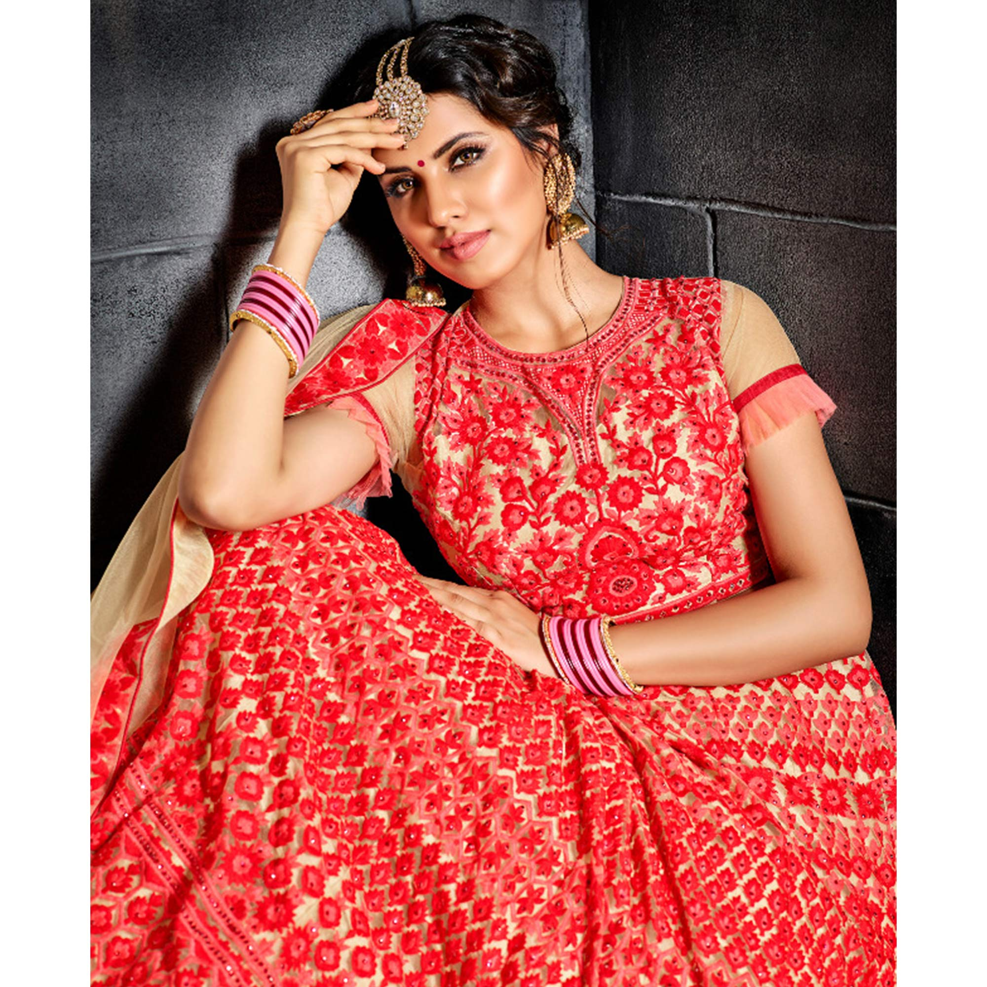 Impressive Red Colored Wedding Wear Heavy Embroidered Heavy Net Lehenga