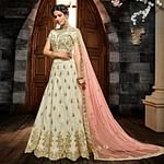 Innovative Cream Colored Wedding Wear Heavy Embroidered Silk Lehenga