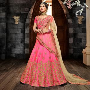 Adorable Pink Colored Wedding Wear Heavy Embroidered Silk Lehenga