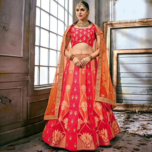 Amazing Pink Colored Partywear Embroidered Art Silk Lehenga Choli